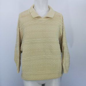 Vtg Yellow Cropped Sweater Size M/L 80s Knit